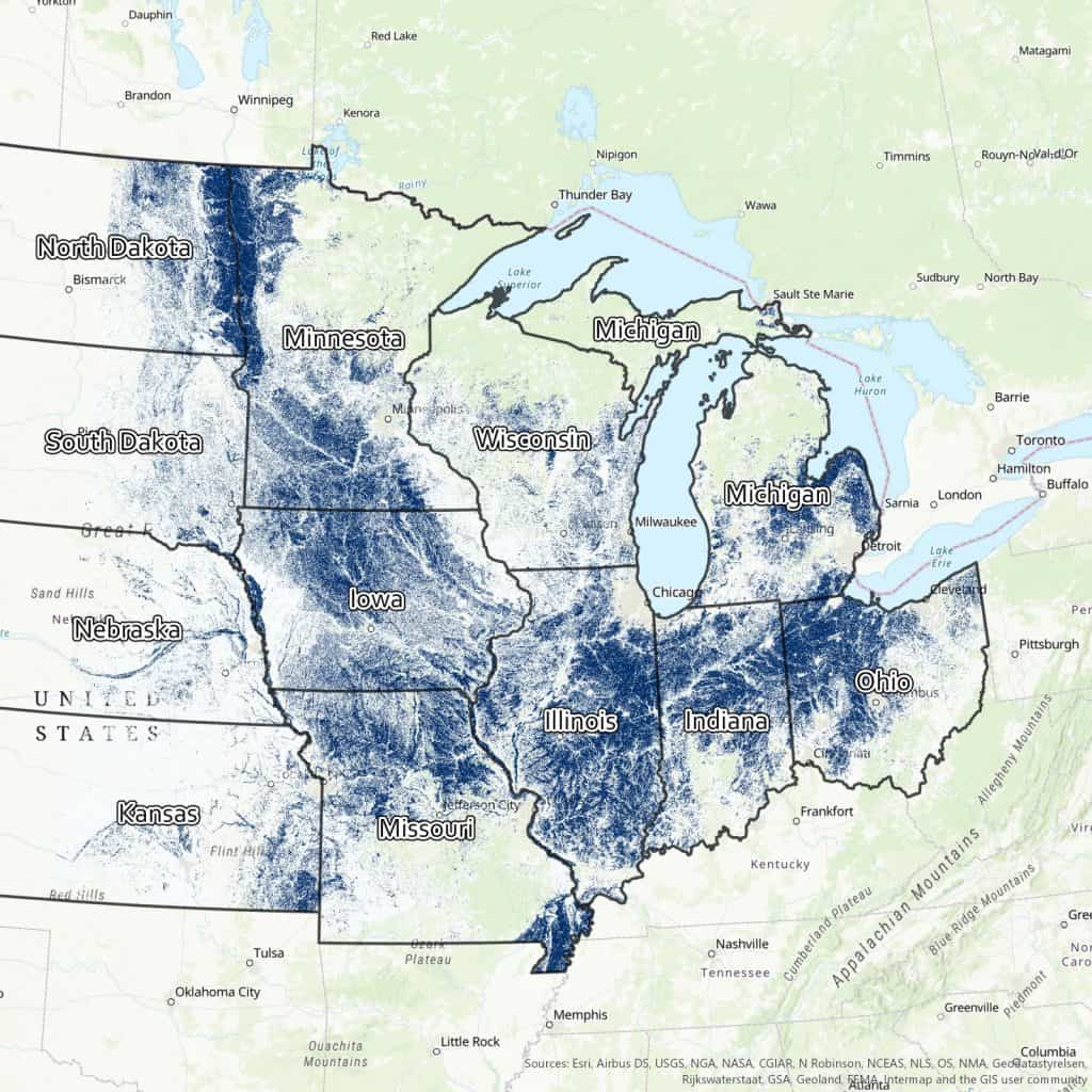Likely tile-drained croplands in the U.S. Midwest based on land use, topography, and soil type, Source: transformingdrainage.org