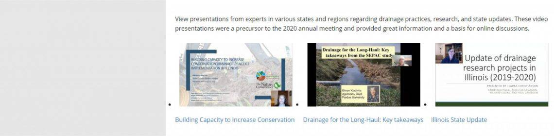 2020 Conservation Drainage Network – Technical Presentations